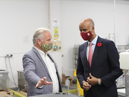 On Oct 30, 2020, the Honorable Ahmed Hussen (MP York South-Weston) toured dynaCERT's Toronto assembly plant and learned about HydraGEN™ Technology from DYA COO & Chief Engineer Robert Maier 21273 on oct 30 2020 the honorable ahmed hussen (mp york 1