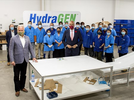 On Oct 30, 2020, the Honorable Ahmed Hussen (MP York South-Weston) toured dynaCERT's Toronto assembly plant and learned about HydraGEN™ Technology from DYA COO & Chief Engineer Robert Maier 21273 on oct 30 2020 the honorable ahmed hussen (mp york 2