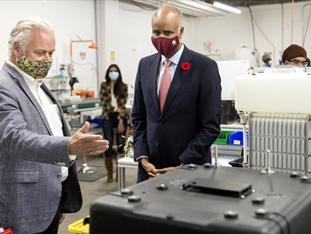 On Oct 30, 2020, the Honorable Ahmed Hussen (MP York South-Weston) toured dynaCERT's Toronto assembly plant and learned about HydraGEN™ Technology from DYA COO & Chief Engineer Robert Maier 21273 on oct 30 2020 the honorable ahmed hussen (mp york 5